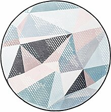 LEZ-Teppich Geometrische Muster Runde Schlafzimmer