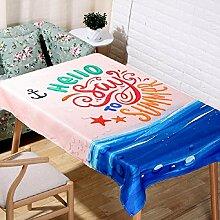 LF&F Tablecloth Tischdecke EuropäEr Sommerstrand ModemöBel Tischtuch Einfaches Bedrucken TischtüCher Couchtisch Tuch Universelle Tischdecke Geeignet FüR Outdoor Outdoor Picknick Party TischdeckeC140*250cm