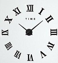 LFNRR 3D Clock Wall Sticker DIY Wand Aufkleber Spiegel Wand Aufkleber, der römischen Mauer Sticker Acryl Wecker Aufkleber Home Decor, Silber