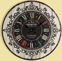 LFNRR American country einfache Uhr europäische Holz Schautafeln, ein 16.