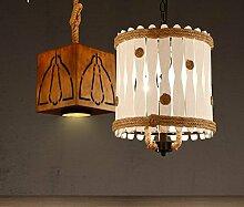 LFNRR American country vintage Massivholz bar Seil Kronleuchter Kronleuchter Lampe drum das Restaurant Branche kreative Persönlichkeit mit Kronleuchter Quadrat Qualitativ hochwertige Produkte mit hoher Qualitä