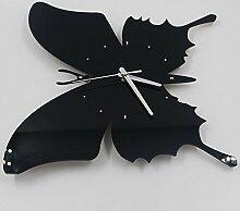 LFNRR Butterfly kreative mute Wanduhr Wanduhr Schlafzimmer Wohnzimmer kreative WanduhrenSchwarz Schöne Dekoration