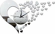 LFNRR DIY Acryl spiegel Uhren mute Liebe Herz Wandaufkleber liebe Acryl Wecker Wanduhren Wanduhren, Spot silber