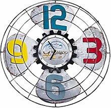 LFNRR Einseitige Metall mute Wohnzimmer Uhren und retro American Bar WanduhrL45*45*5cm Schöne Dekoration