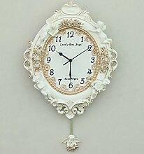 LFNRR Europäische garten Wohnzimmer Schlafzimmer kreative Mode wall clock clock mute Engel Harz relief Wanduhr Schöne Dekoration