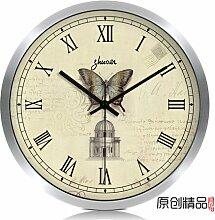 LFNRR Europäischen Silent Wall clock die Uhr Tisch Wohnzimmer moderne Uhr chinesischer Garten Schautafeln, C12