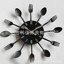 LFNRR Farbe Edelstahl besteck Küche wand Uhren, clock, Schwarz