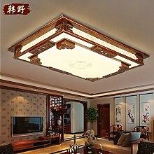 LFNRR Fernbedienung stufenlose optische Farbmischung chinesische Lampe rechteckige chinesischen Stil Massivholz Wohnzimmer lampe Chinesische klassische Lampen