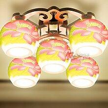 Lfnrr Hochwertige Jingdezhen Ceramic Deckenleuchte Chinesische Klassische Kunst Schlafzimmer Arbeitszimmer Esszimmer Zimmer Porzellan Lampe, E