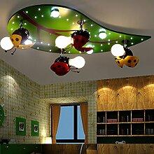 Lfnrr Hochwertige Kinderzimmer Lampe Kinderzimmer Deckenleuchte Cartoon Eye Schutz Umweltschutz Bunten Lampe, 7 W Tricolor