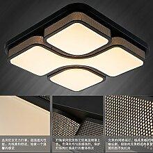 LFNRR Hochwertige quadratisch LED Deckenleuchten Großhandel Wohnzimmer Schlafzimmer Licht atmosphärische Studie Lampe, 53 * 53 Schwarz, weißes Lich