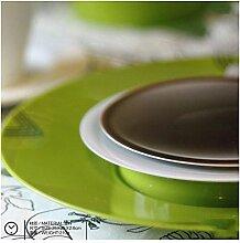 LFNRR Kaffee Zeit Schale Wanduhr Kunst Design einzigartiges Geschenk DIY Dekoration Wohnzimmer Küche Stunden, Grün