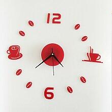 LFNRR Kaffeetasse Studie Schlafzimmer Dekor wand Aufkleber wasserdichte Acryl Wand clockwc 1020, Gold Spiegel