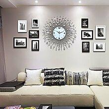 LFNRR Koreanische Wohnzimmer Schlafzimmer im Stil der Wanduhr Wanduhr aus massivem Holz 75 cm Schöne Dekoration