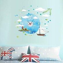 LFNRR Kreative kinderzimmer wohnzimmer schlafzimmer Mode clock clock clock wall sticker stumm Meer Schöne Dekoration