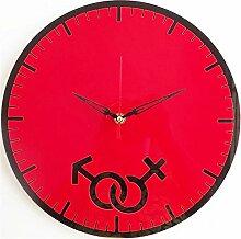 LFNRR Kreative Mode Uhren einfache Dekoration im Wohnzimmer Stummschaltung Kunst30*30CM ROT Schöne Dekoration