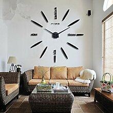 LFNRR Kreis geformte Wanduhr creative Wohnzimmer Modernes minimalistisches Silent retro Wanduhr Schwarz Schöne Dekoration