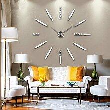 LFNRR Kreis geformte Wanduhr creative Wohnzimmer Modernes minimalistisches Silent retro Wanduhr Silber Schöne Dekoration