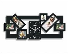 LFNRR Mode Bilderrahmen Wanduhr Moderne Europäische kreative Wecker stumm dekoriert das Wohnzimmer Wanduhr Schöne Dekoration
