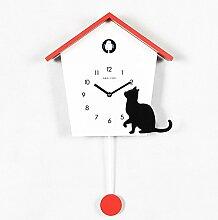 LFNRR Mode kreativer moderner minimalistischer Wanduhren Kuckucksuhren Rot Schöne Dekoration