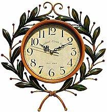 LFNRR Mute förmige Wohnzimmer clock vintage American continental Bügeleisen Wanduhr Schöne Dekoration