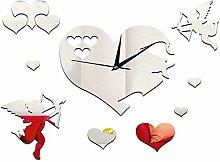 LFNRR neue Ankunft Amors liebende Herz Wand mit Uhr DIY Home Ausstattung Verzieren 3D Spiegel Mode Wanduhr