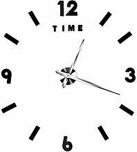 LFNRR neue große DIY Wanduhr Spiegel dekorative Uhr Factory Outlet, Schwarz