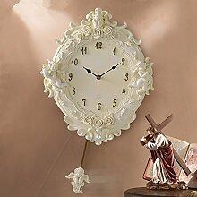 LFNRR Oval Wanduhr britische Wohnzimmer Schlafzimmer 1 Uhr ein Harz Schöne Dekoration