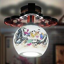 Lfnrr Qualitativ Hochwertiger Keramik Deckenleuchte Chinesische Klassische Kunst Schlafzimmer Studie Balkon Terrasse Flur Hof Lampe, C