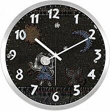 LFNRR Rund um die Uhr Quarz schlafzimmer wohnzimmer Wanduhr 14 cm silber Schöne Dekoration