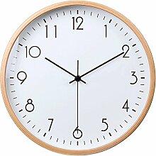 LFNRR Runde Metall minimalistischen modernen gedämpften Wanduhr Schlafzimmer Massivholz Japanisch Uhren Quarz Wanduhr14 Zoll4. Schöne Dekoration