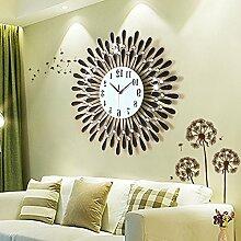 LFNRR Runde Schlafzimmer im minimalistischen modernen gedämpften Wohnzimmer uhren Persönlichkeitsstil Wanduhr Schöne Dekoration