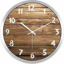 LFNRR Runde stille Quarzuhren im Wohnzimmer Schlafzimmer Wanduhr 14 cm silber Schöne Dekoration