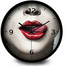 LFNRR Runde stille Watch wohnzimmer schlafzimmer UhrenSchwarz Schöne Dekoration
