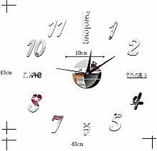 LFNRR Wanduhr Uhren dekorative Spiegel wand Sticker acryl Spiegel Wohnzimmer Digitale Wanduhr wc 1465, Silber