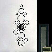 LFNRR Wohnzimmer Clock 3D Acryl Kreis Spiegel wand Aufkleber Wanduhr WC 1265, Schwarz