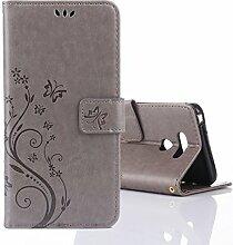 """LG G6 Hülle, LG G6 Schutzhülle, Alfort Carving Lederhülle Fashion Design Premium PU Leder Hohe Qualität Tasche Case Cover Kasten Abdeckung Wallet für LG G6 5.7"""""""" Smartphone Funktion Standfunktion Unterstützte Telefone und Magnetverschluss mit Schmetterling ( Grau )"""