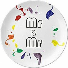 LGBT Rainbow Flagge MR & Mr Porzellan Dekoration