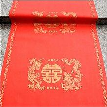 LH-CARPET Chinesischer Hochzeits-Teppich-Einweg-Drache und Phoenix-Muster-Wolldecke (roter Teppichläufer) (größe : 1m*50m)