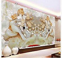 LHDLily 3D Badezimmer Tapeten Wohn 3D Wallpaper Jadeschnitzerei Hintergrund 3D-Wand Individuelle Tapete Wohnzimmer 3D Wallpaper 300cmX200cm