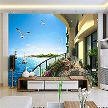 LHDLily 3D-Balkon Meerblick Zimmer Home Decoration Tapete Wohnzimmer Schlafzimmer Büro Wandbild Hintergrund Wand 350cmX250cm