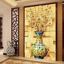 LHDLily 3D Gold Rosen Jade Vase Flur Wandbild