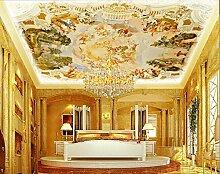 LHDLily 3D Großes Wandbild Tapete Büro Villa Wohnzimmer Decke Tapeten Europäischen Öl Malerei Wallpaper 400cmX300cm