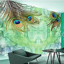 LHDLily 3D Hintergrundbild Tapete Fresken Wandaufkleber Verdickung Benutzerdefinierte Peacock Hair Fashion Südostasiatischen Hintergrund Wand 150Cmx100Cm