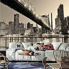 LHDLily 3D Hintergrundbild Tapete Fresken Wandaufkleber Verdickung Für Wände Benutzerdefinierte City Night View Bridge Landschaft Hintergrund Wand Papel Tapiz 150Cmx100Cm