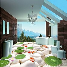 lhdlily 3D Pebble Bodenbelag Tapete Hotel quadratisch Dekorative Wasserdicht Boden Wandbild Abmessungen 150x 100cm