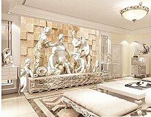 LHDLily 3D Raum Tapete Statue Europäischen 3D-Hintergrund Wallpaper Für Wohnzimmer Home Decoration 400cmX300cm