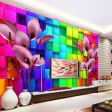 LHDLily 3D Stereo Großes Wandbild Tapeten Sofa Hintergrund Bunte Minimalistischen Wohnzimmer Tv-Wand Tapeten 400cmX300cm