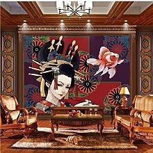 lhdlily 3D Stereo Retro Japanische Dame Tapete Wandbild Dekorieren Restaurant Sofa Hintergrund Lounge Tapete