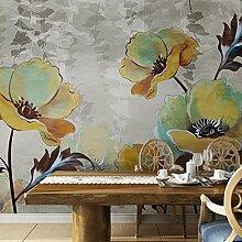 LHDLily 3D Stereo Wohnzimmer Schlafzimmer Fernseher Sofa Hintergrund Tapete Retro Flower Wallpaper Wandbild 300cmX200cm